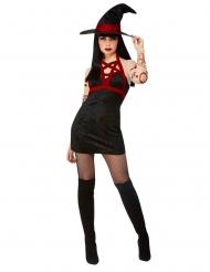 Déguisement sorcière satanique noire sexy femme