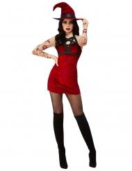 Déguisement sorcière satanique rouge sexy femme