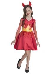 Déguissement Miss Devil rouge avec cornes fille