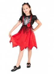 Déguisement robe squelette avec serre-tête fille
