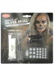 Kit maquillage squelette sexy argent adulte