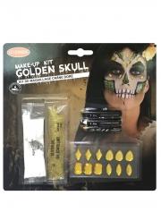 Kit maquillage squelette sexy doré adulte