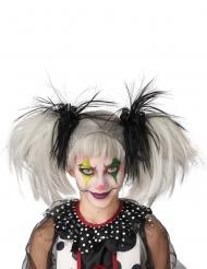 Perruque couettes noire et blanc phosphorescente enfant