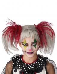 Perruque couettes rouge et blanc phosphorescente enfant