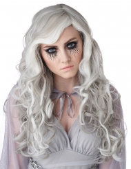 Perruque longue grise phosphorescente femme