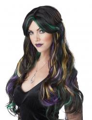 Perruque longue noire balayage couleurs femme