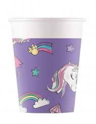 8 Gobelets en carton Minnie et la licorne™ 200 ml