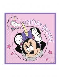 20 Serviettes en papier compostable Minnie et la licorne™ 33 x 33 cm