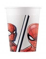 8 Gobelets en carton Spiderman™ rouge 200 ml
