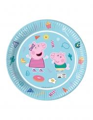8 Assiettes en carton Peppa Pig™ bleues 23 cm