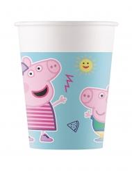 8 Gobelets en carton Peppa Pig™ bleus 200 ml