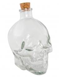Flacon verre tête de mort 14 cm