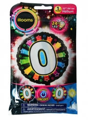 Ballon aluminium chiffre 0 multicolore LED Illooms® 50 cm