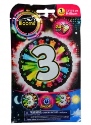Ballon aluminium chiffre 3 multicolore LED Illooms® 50 cm