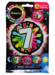 Ballon aluminium chiffre 7 multicolore LED Illooms® 50 cm