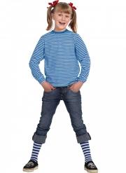 T-shirt manches longues à rayures bleues et blanches enfant