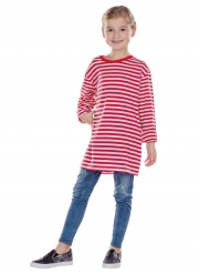 T-shirt manches longues à rayures rouges et blanches enfant
