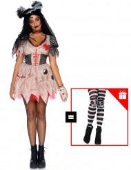 Déguisement de poupée vaudou femme avec collants offerts