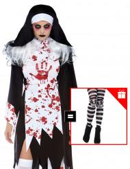 Déguisement nonne tueuse femme avec collants offerts