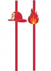10 Pailles en carton Pompier rouges 20 cm