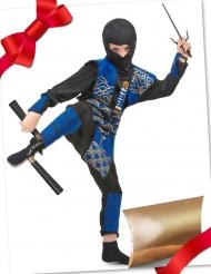 Coffret cadeau déguisement ninja bleu avec accessoires enfant