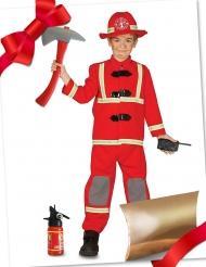 Coffret cadeau déguisement pompier rouge avec accessoires enfant