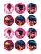 12 Décorations en sucre pour biscuits Ladybug™ 6 cm