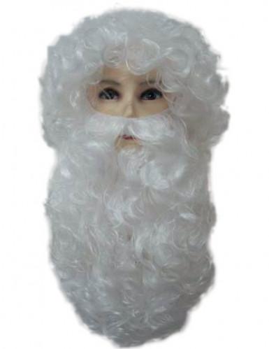 Perruque et barbe de p�re no�l pour homme