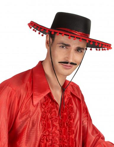 Chapeau espagnol noir et rouge-1