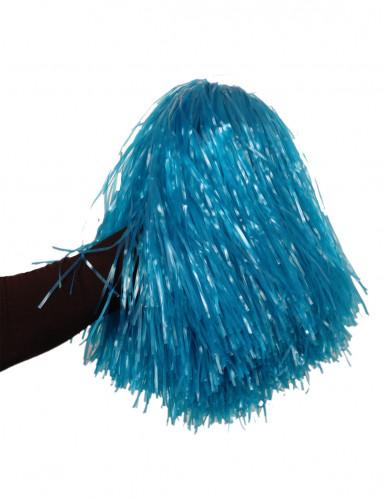 Pompon bleu métallique