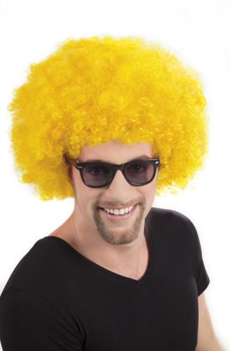 Perruque afro disco jaune volume adulte
