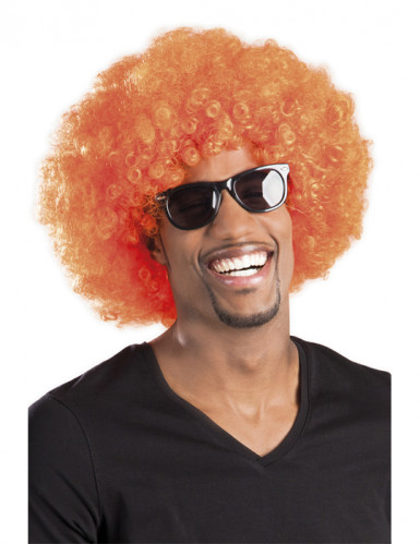 Perruque afro disco orange volume adulte
