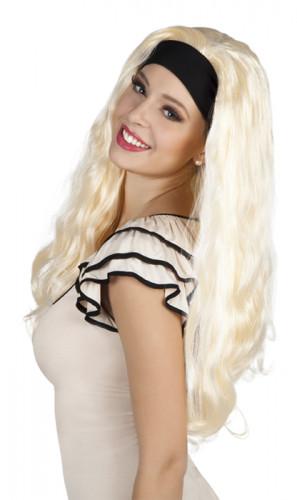 Perruque blonde cheveux longs avec bandeau femme