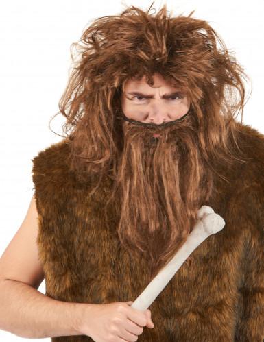 Perruque et barbe  des cavernes marron homme