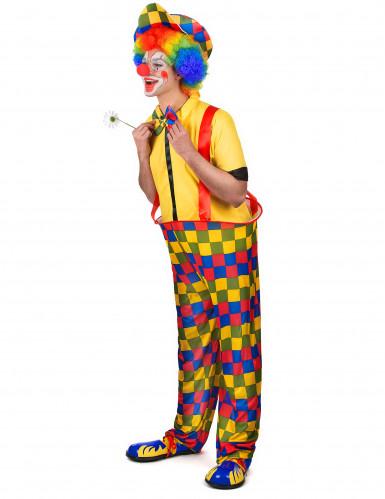 Déguisement clown à carreaux colorés homme-1