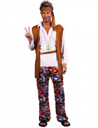 Déguisement hippie marron et blanc homme