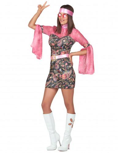 Déguisement hippie vieux rose femme-1