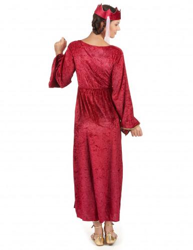 Déguisement rouge reine médiévale femme-2