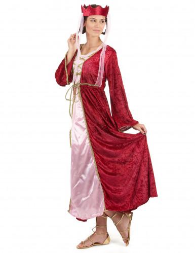 Déguisement rouge reine médiévale femme-1
