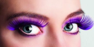 Faux cils longs violets adulte