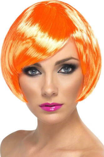 Perruque cabaret courte orange femme