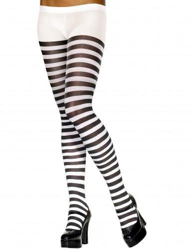 Collants rayés noir et blanc femme
