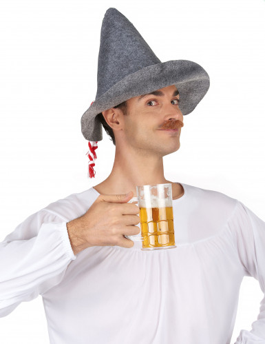 Chapeau bavarois adulte avec cordelette rouge et blanche-1