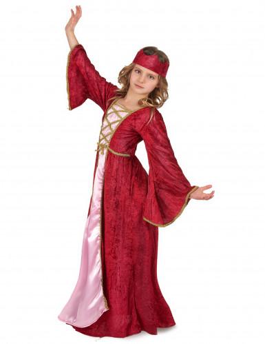 Déguisement reine médiévale rouge fille-1