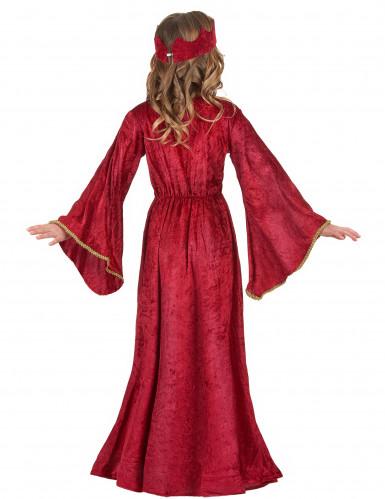 Déguisement reine médiévale rouge fille-2
