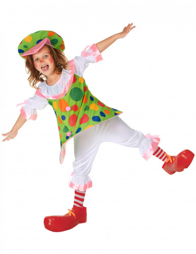 Déguisement clown à pois colorés fille