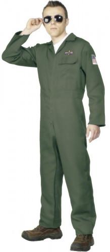 Déguisement pilote de chasse vert homme
