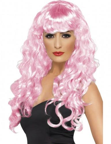 Perruque sirène bouclée rose femme