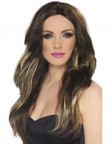 Perruque longue marron méchée blonde femme