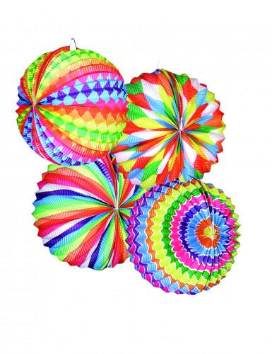 12 lanternes rondes multicolores
